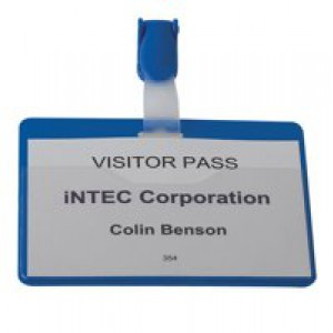 Durable Name Badge 60x90mm Visitor Blue Pack of 25 8147/06