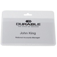 Durable Security/Visitor Badge without Clip 60x90mm Pk 50 Transparent 999108008