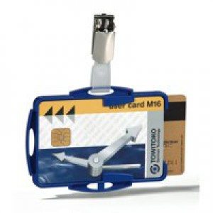 Durable Dual Security Pass Holder Pack of 25 Blue 8218/06