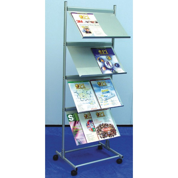 Deflecto Free-Standing 4-Shelf Literature Display Unit A3 Silver DE37900