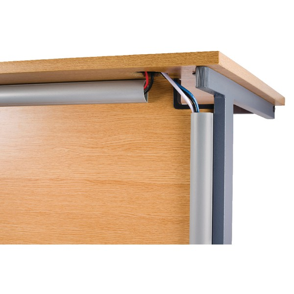 D-Line Desk Trunking Cable Management 50x25mm 1.5m Silver 2D155025A