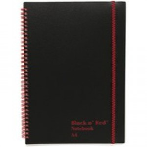Black n Red Notebook Wirebound Polypropylene 90gsm Ruled 140pp A4 Ref 100080166 [Pack 5]