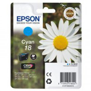 Epson 18 Inkjet Cartridge Daisy Capacity 3.3ml Cyan Ref C13T18024010