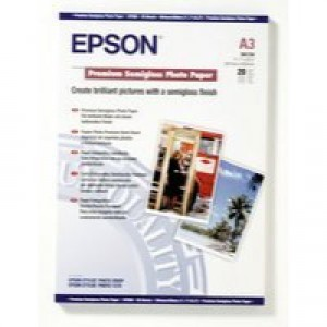 Epson Premium Semi-Gloss Photo Paper A3 Pack of 20 C13S041334