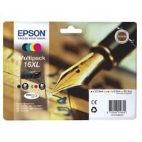 Epson 16XL Black/Cyan/Magenta/Yellow High Yield Inkjet Cartridge Pack of 4 C13T16364010 / T1636