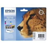 Epson T0715 Black/Cyan/Magenta/Yellow Inkjet Cartridge (Pack of 4) C13T07154010 / T0715