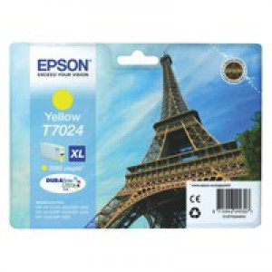 Epson T7024 Inkjet Cartridge Eiffel Tower XL High Capacity Page Life 2000pp Yellow Ref C13T70244010