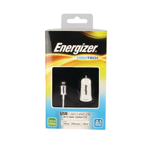 Energizer USB Car Charger 2.1A with Apple Lightning Cable White
