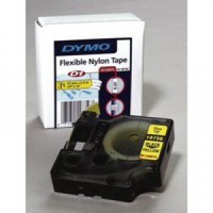 Dymo D1 Flexible Nylon Tape 12mm x3.5 Metres Black/White S0718040