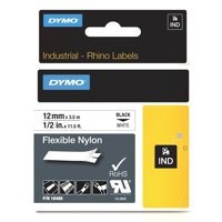 Dymo Rhino Flexible Nylon Label 12mm Black/White 18488