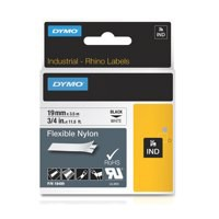 Dymo Rhino Flexible Nylon Label 19mm Black/White 18489
