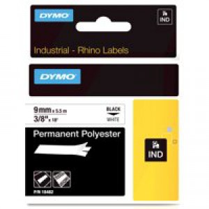 Dymo Rhino Permanent Polyester Tape 9mm Black/White 18482