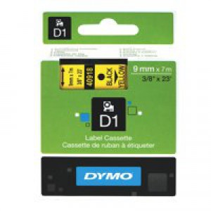 Dymo 1000/5000 Tape 9mm x7 Metres Black/Yellow 40918 S0720730