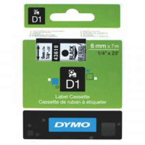 Dymo 1000/5000 Tape 6mm x7 Metres Black/Clear 43610 S0720770