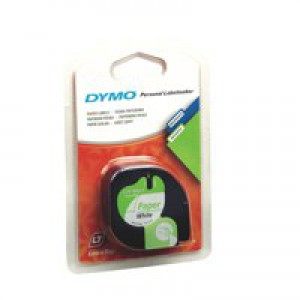 Dymo Letratag Paper Tape 12mm x4 Metres Pearl White S0721510