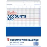 Evrite Analysis Pad A4 8-Column 26/8A