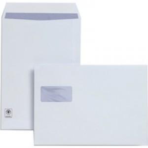 Plus Fabric Envelopes Pocket Peel and Seal Horizontal Window 120gsm C4 White [Pack 250]