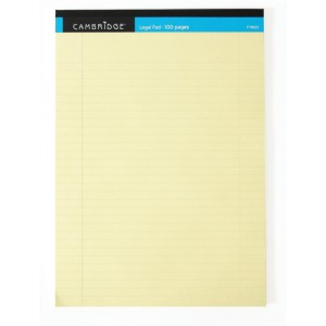 Cambridge Legal Pad Perforated Tear-off Feint Ruled with Margin 100 Pages A4 Yellow Code 100080179
