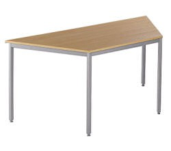 Trapezoidal flexi table with silver fram