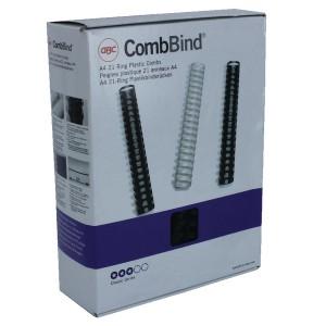 Acco GBC Binding Comb 16mm A4 21-Ring Black Pack of 100 4028600