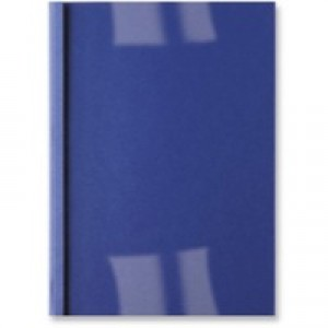 Acco GBC A4 Thermal Binding Covers 6mm 250gsm PVC/Leathergrain Back Clear/Royal Pack 100 IB451034