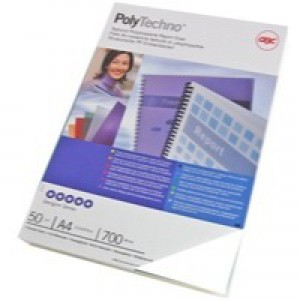 Acco GBC Polytech Cover 700micron A4 Pack of 50 Ice White IB387210