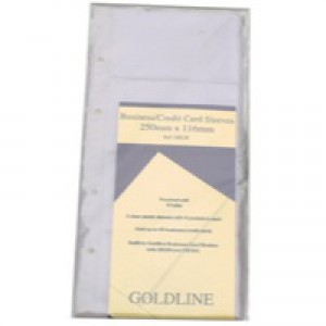 Goldline Card Holder Refill Sheets for De Luxe Business Card Binder 272x150mm Pack 5 Code GBC/R