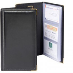 Goldline Business Card Holder Deluxe Stitched Black Capacity 96 SBC3P/BLK