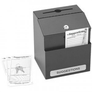 Safco Locking Steel Suggestion Box Black 4232BL