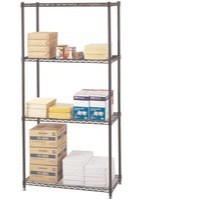 Safco Wire Commercial Shelving Starter Unit Black 5276BL