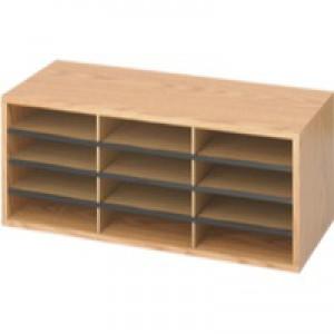 Safco Literature Organiser 12-Compartment Oak 9401MO