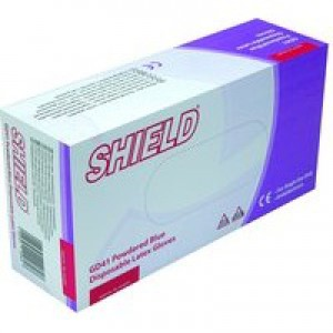 Shield Polypropylene Latex Gloves Blue Small Pack of 100 GD41
