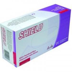 Shield Polypropylene Latex Gloves Blue Large Pack of 100 GD41
