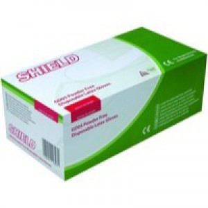 Shield Powder-Free Latex Gloves Large Pack of 100 GD05
