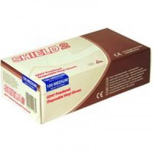 Shield Polypropylene Vinyl Gloves Clear Medium Pk 100 GD47