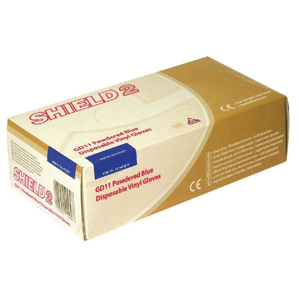Shield Polypropylene Vinyl Gloves Blue Medium Pack 100 GD11