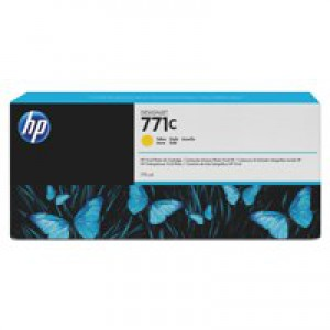 HP 771C Yellow Deskjet Inkjet Cartridge  packed with 775ml of HP Vivid Photo ink (Single).