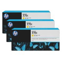 HP 771C Yellow Deskjet Inkjet Cartridge  packed with 775ml of HP Vivid Photo ink (Pack of 3).