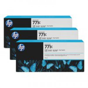 HP 771C Photo Black Deskjet Inkjet Cartridge  packed with 775ml of HP Vivid Photo ink (Pack of 3).