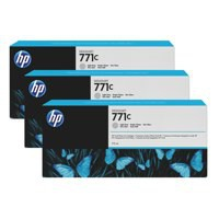 HP 771C Light Grey Deskjet Inkjet Cartridge  packed with 775ml of HP Vivid Photo ink (Pack of 3).