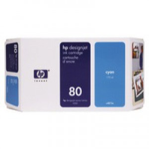 Hewlett Packard No80 Inkjet Cartridge 350ml Cyan C4846A