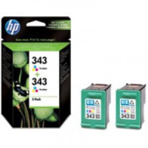 Hewlett Packard No343 Inkjet Cartridge 3-Colour Pack of 2 CB332EE