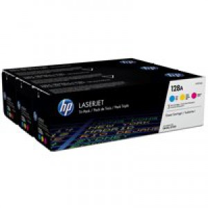 HP 128A Cyan Yellow and Magenta Laserjet Toner Cartridges with a yield of up to 1300 pages each.
