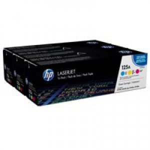 HP 125A 3-Pk Cyan/Yellow/Magenta Original Laserjet Toner Cartridges CF373AM