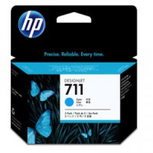 HP711 Cyan Ink Cart 3 - Pack CZ134A Pk1