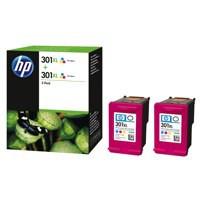 HP 301XL Inkjet Cartridge Tri-Colour Twin Pack Code D8J46AE