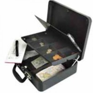 Petty Cash Box with Organiser Coin Tray 8 Part and Note Section 3 Part