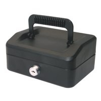 Helix 150mm Sloping Lid Cash Box Black WA6010