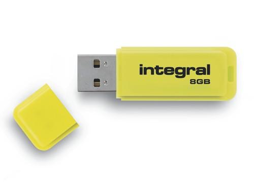 Integral Neon Flash Drive USB 2.0 8GB Yellow Ref