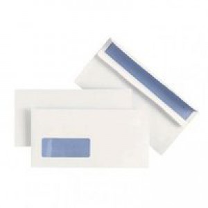 Plus Fabric Envelopes Wallet Press Seal Window 110gsm DL White [Pack 500]